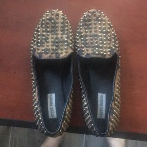 Leather spiked slip on shoes